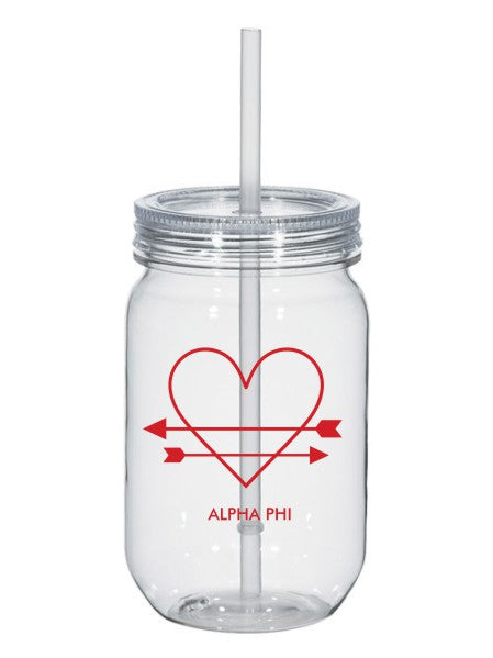 Alpha Phi Heart Arrows Name 25oz Mason Jar