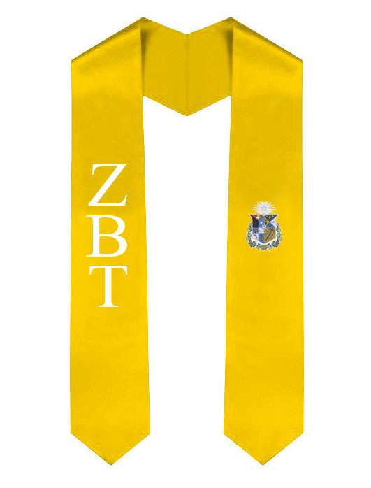 Zeta Psi Lettered Graduation Sash Stole with Crest