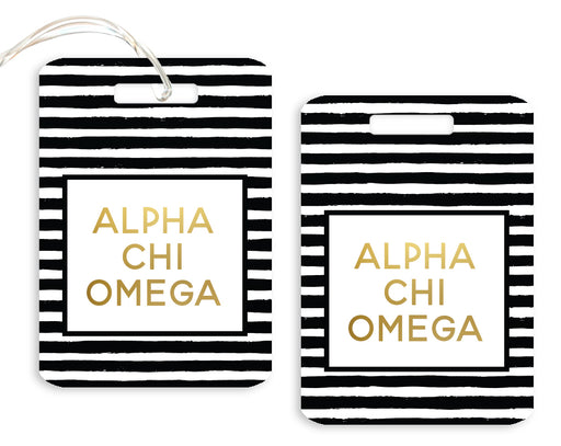 Alpha Chi Omega Gold Striped Luggage Tag