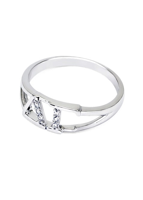 Delta Gamma Sterling Silver Ring with Lab Created Clear Diamond
