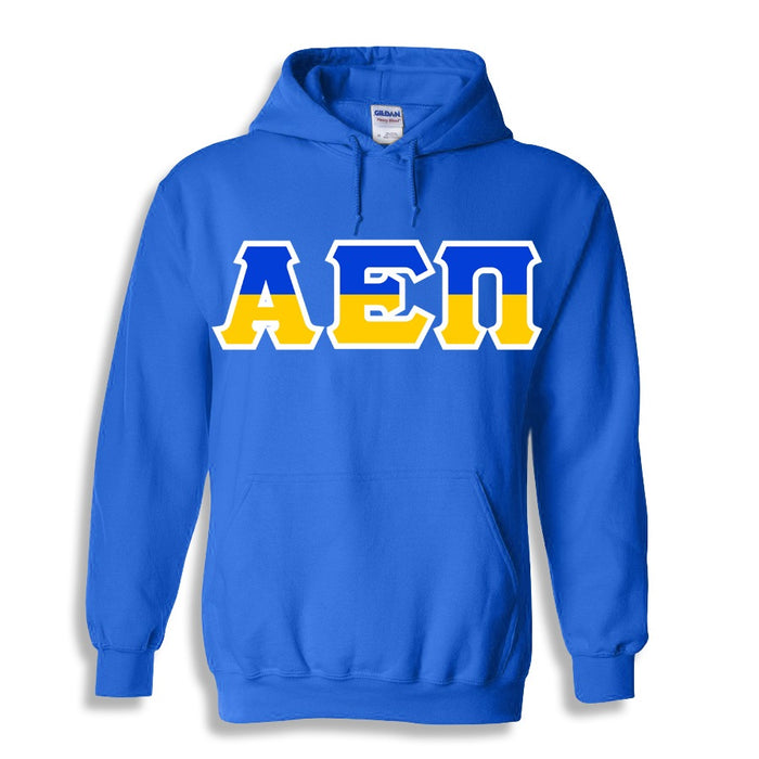 Alpha Epsilon Pi Two Toned Lettered Hooded Sweatshirt