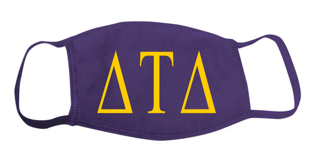 Delta Tau Delta Face Mask With Big Greek Letters