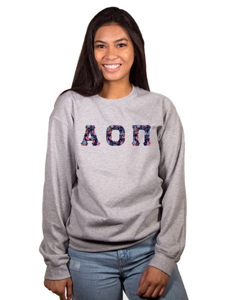 Alpha Omicron Pi Crewneck Sweatshirt with Sewn-On Letters