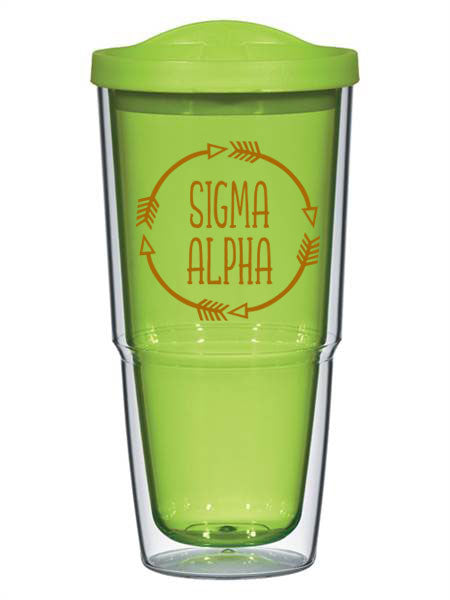 Sigma Alpha Circle Arrows 24 oz Tumbler with Lid