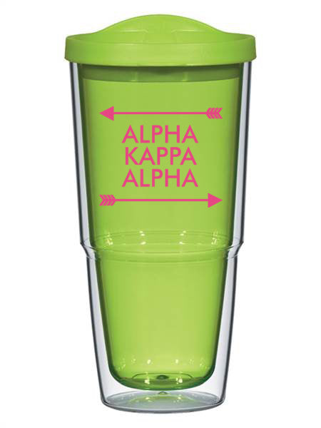 Alpha Kappa Alpha Arrow Top Bottom 24oz Tumbler with Lid