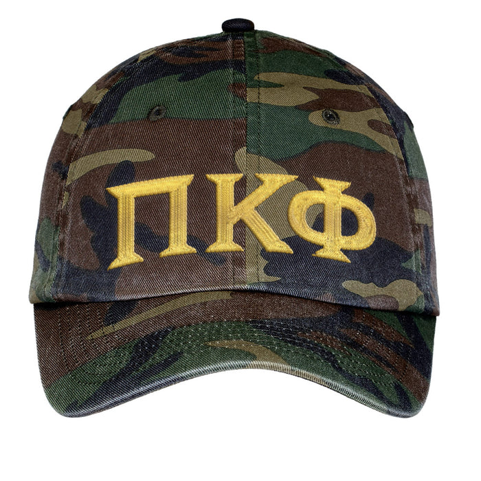 Pi Kappa Phi Letters Embroidered Camouflage Hat