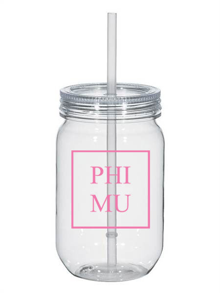 Phi Mu Box Stacked 25oz Mason Jar