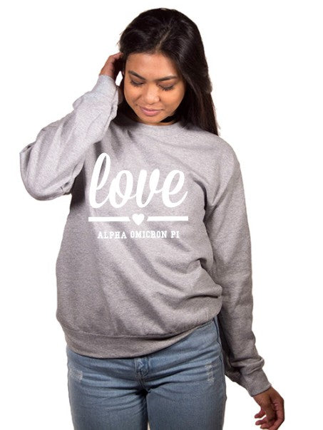 Alpha Omicron Pi Love Crew Neck Sweatshirt