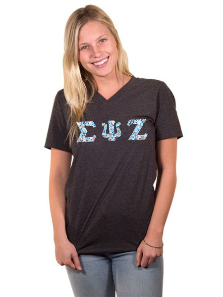 Sigma Psi Zeta Unisex V-Neck T-Shirt with Sewn-On Letters