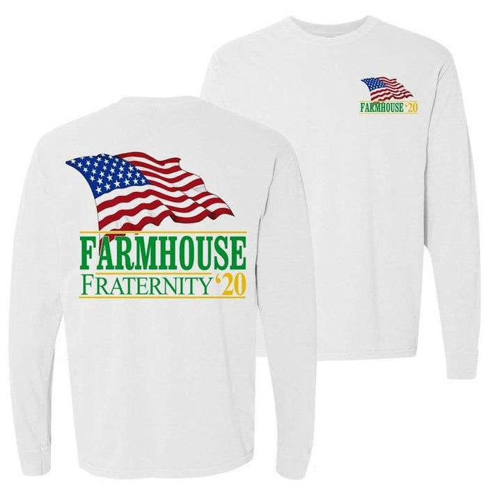 Farmhouse Patriot Flag Comfort Colors Long Tee