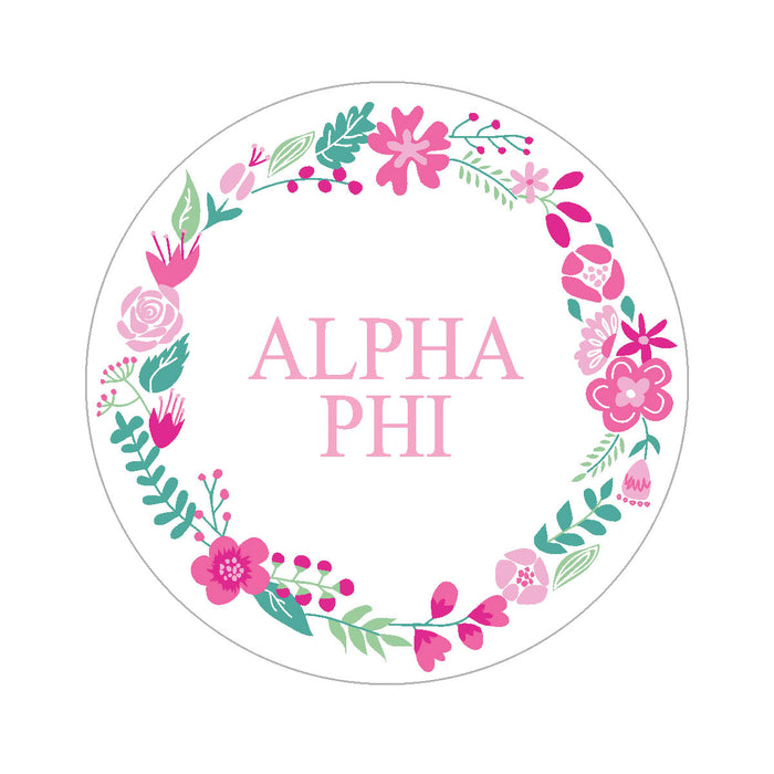 Alpha Phi Floral Wreath Sticker