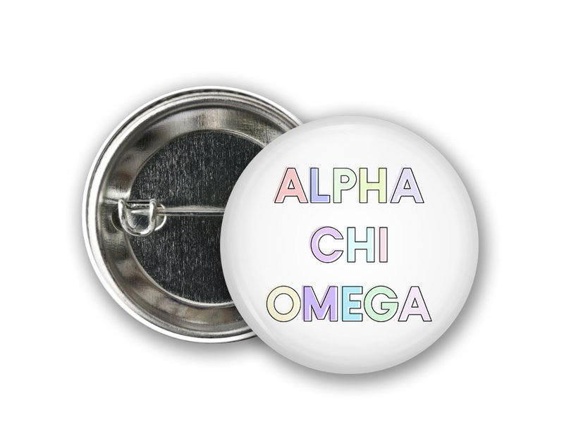 Alpha Chi Omega Pastel Text Button