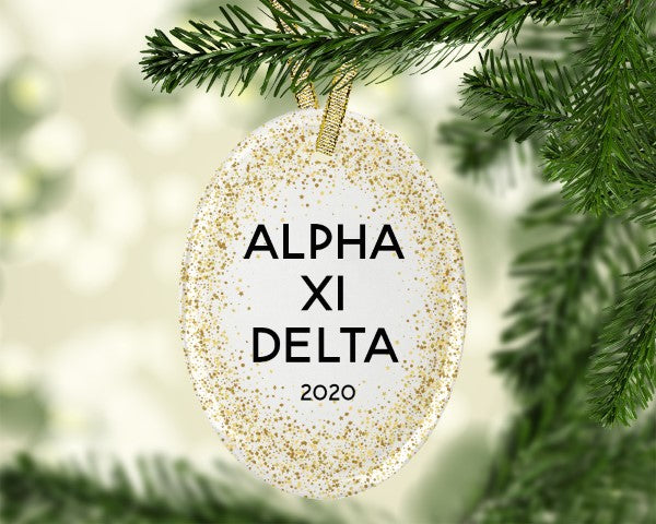 Alpha Xi Delta Gold Speckled Glass Ornament