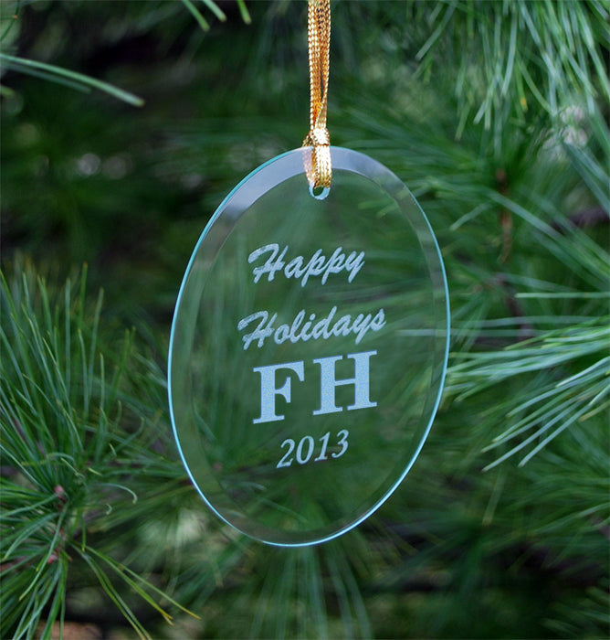 Farmhouse Engraved Glass Ornament
