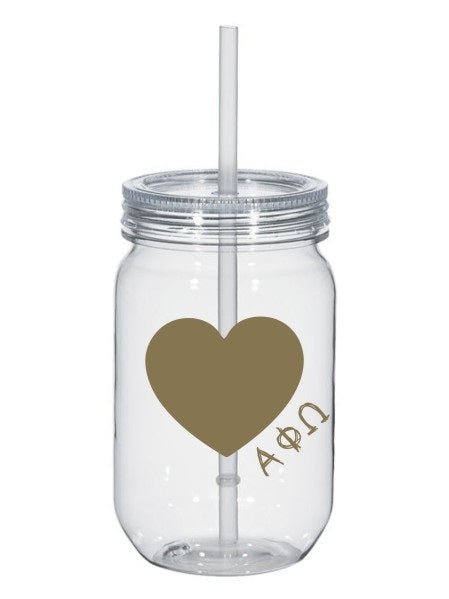 Alpha Phi Omega 25oz Scribbled Heart Mason Jar