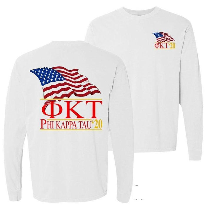 Phi Kappa Tau Patriot Flag Comfort Colors Long Tee