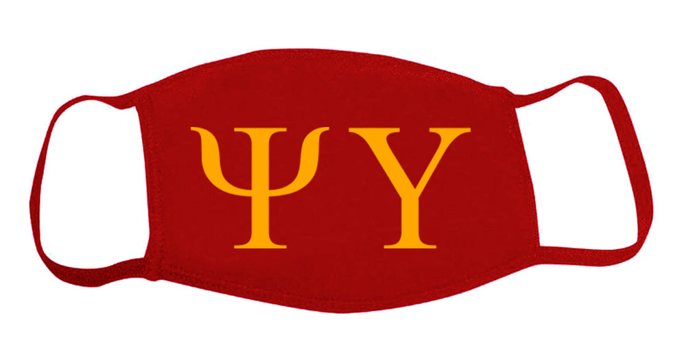 Psi Upsilon Face Mask With Big Greek Letters