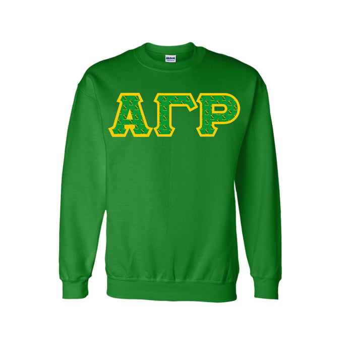 Alpha Gamma Rho Classic Colors Sewn-On Letter Crewneck