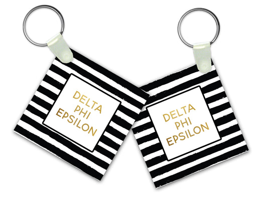 Delta Phi Epsilon Striped Gold Keychain
