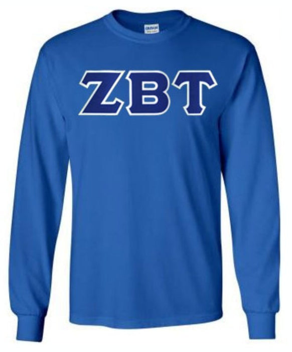 Zeta Beta Tau Long Sleeve Greek Lettered Tee