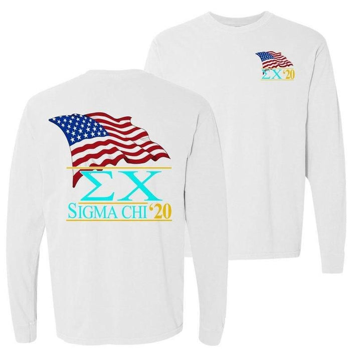 Sigma Chi Patriot Flag Comfort Colors Long Tee