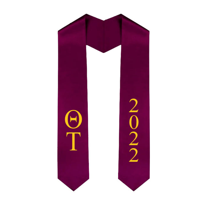 Theta Tau Vertical Grad Stole with Letters & Year