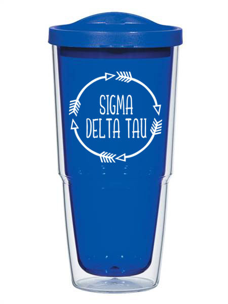 Sigma Delta Tau Circle Arrows 24 oz Tumbler with Lid