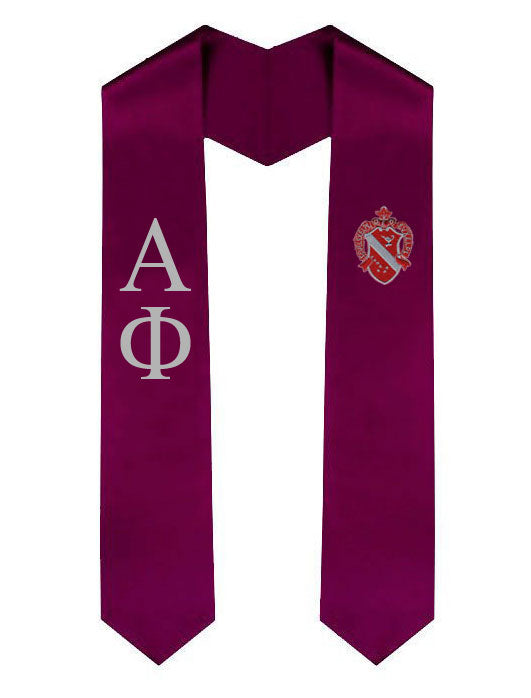 Alpha Phi Lettered Graduation Sash Stole with Crest