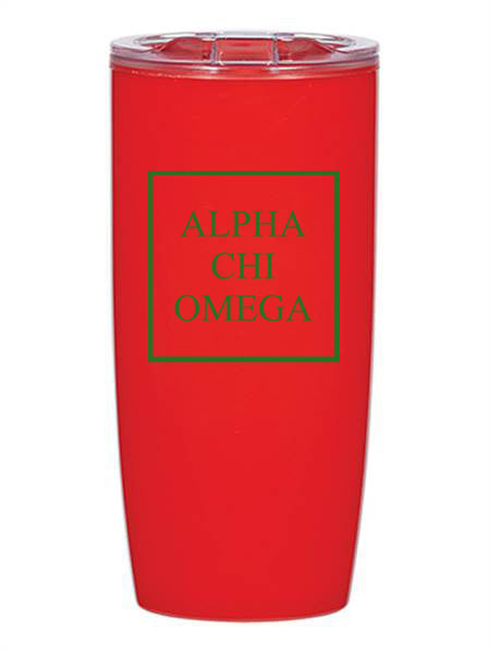 Alpha Chi Omega Box Stacked 19 oz Everest Tumbler