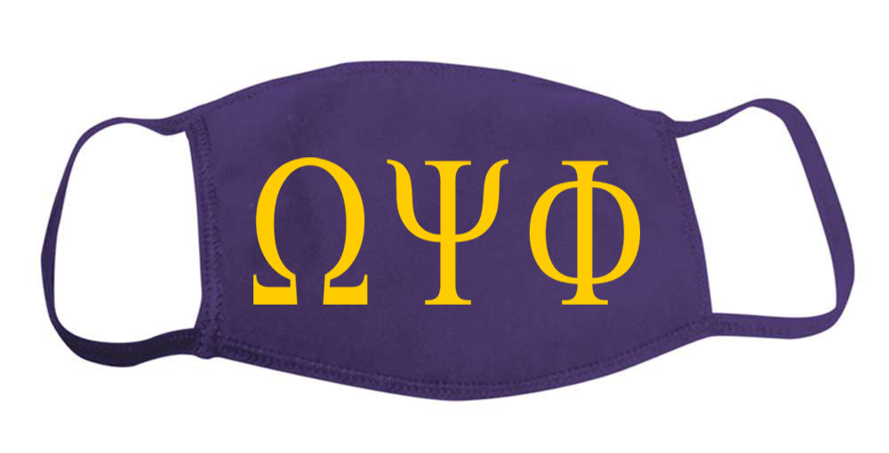 Omega Psi Phi Face Mask With Big Greek Letters