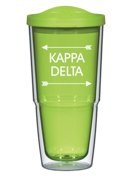 Kappa Delta Arrow Top Bottom 24oz Tumbler with Lid