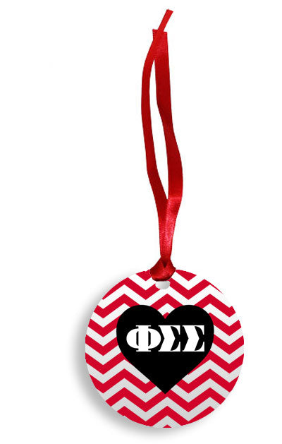 Phi Sigma Sigma Red Chevron Heart Sunburst Ornament