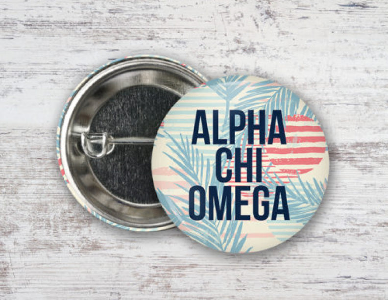 Alpha Chi Omega Paradise Found Button