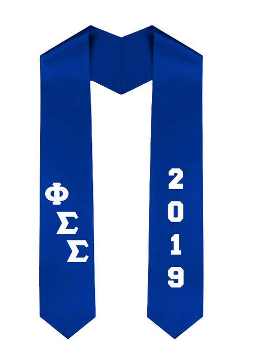 Phi Sigma Sigma Slanted Grad Stole with Letters & Year