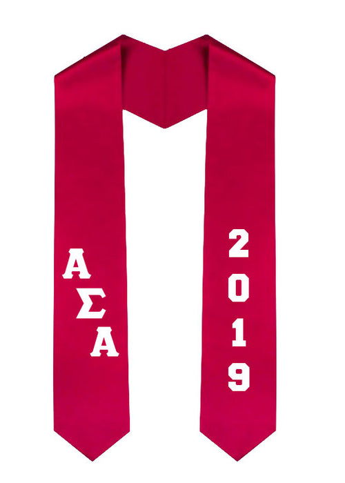 Alpha Sigma Alpha Slanted Grad Stole with Letters & Year