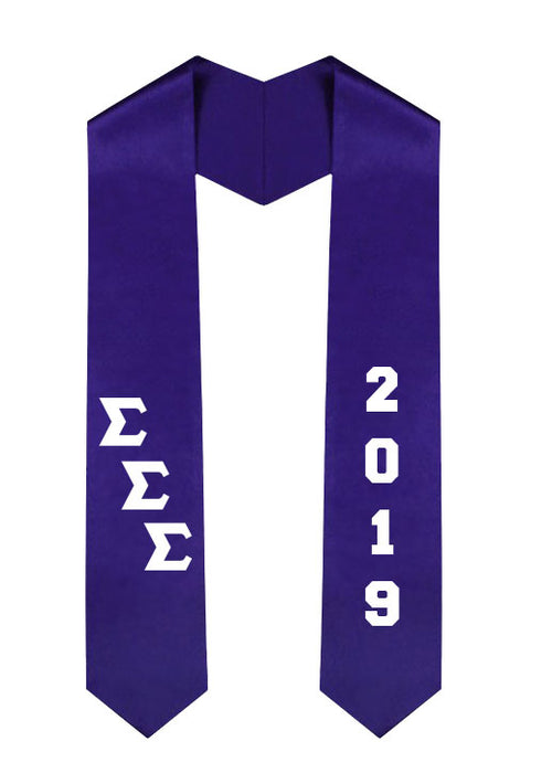 Sigma Sigma Sigma Slanted Grad Stole with Letters & Year