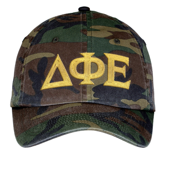 Delta Phi Epsilon Letters Embroidered Camouflage Hat