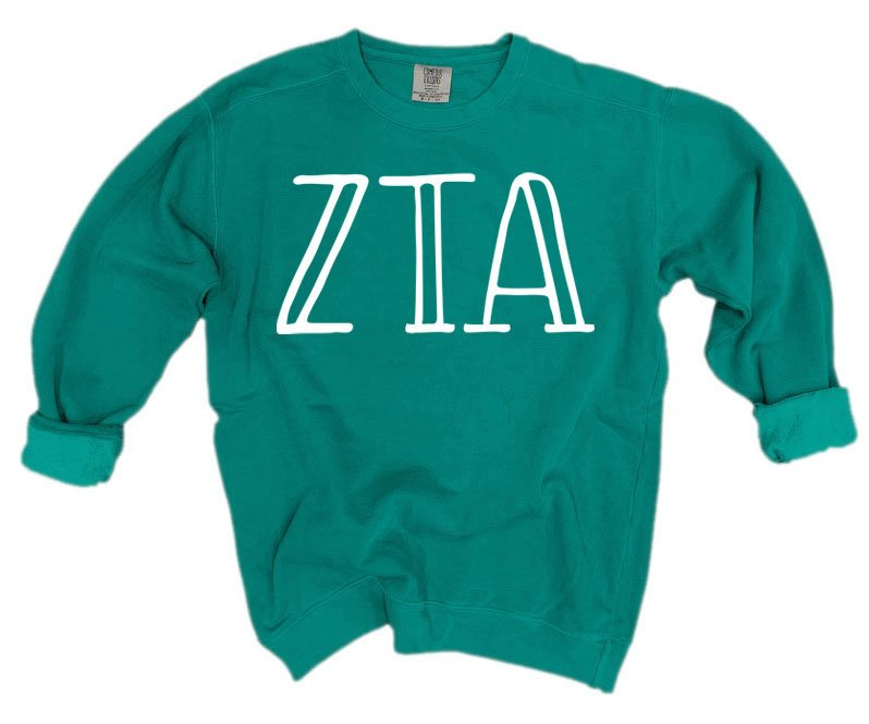 Zeta Tau Alpha Comfort Colors Greek Letter Sorority Crewneck Sweatshirt