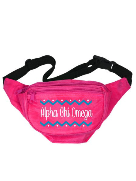 Alpha Chi Omega Dotted Chevron Fanny Pack