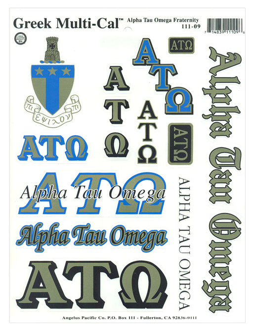 Alpha Tau Omega Multi Greek Decal Sticker Sheet