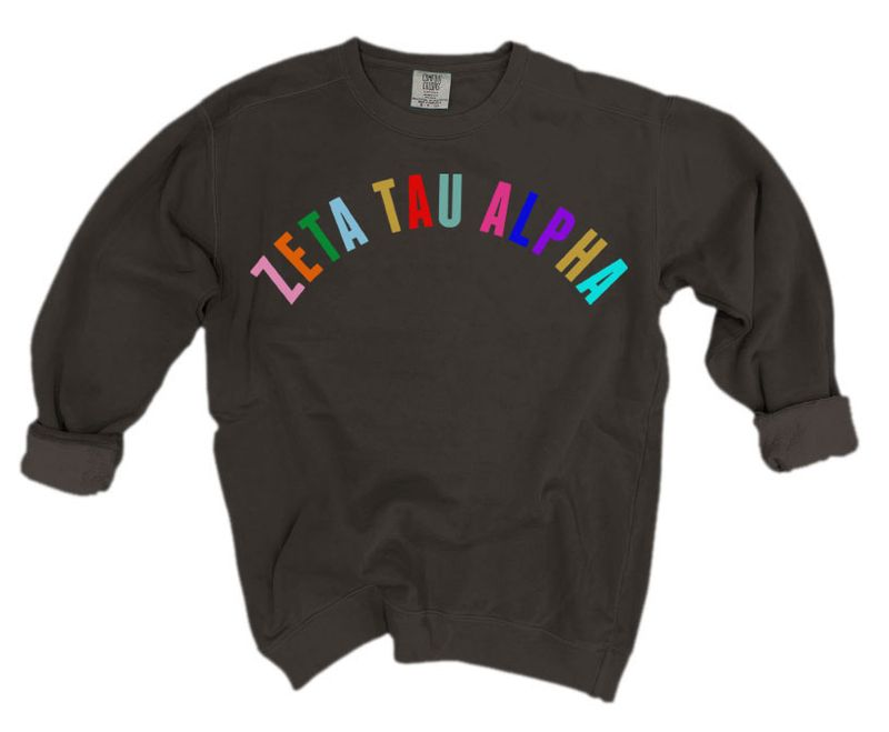 Zeta Tau Alpha Comfort Colors Over the Rainbow Sorority Sweatshirt