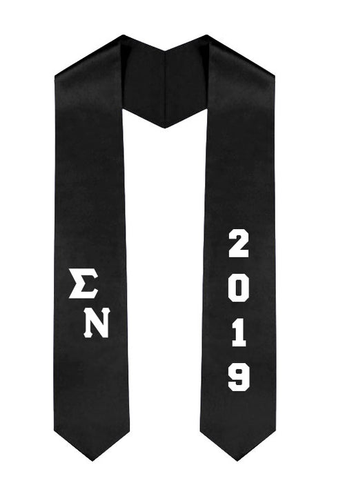 Sigma Nu Slanted Grad Stole with Letters & Year