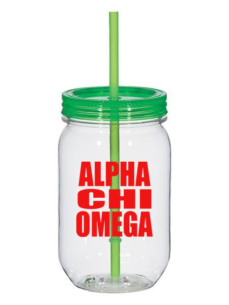 Alpha Chi Omega Big Stacked Greek 25oz Mason Jar