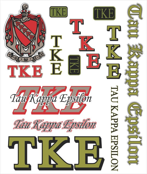 Tau Kappa Epsilon Multi Greek Decal Sticker Sheet