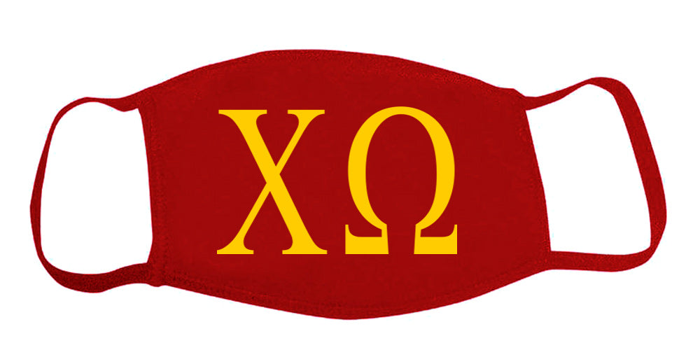 Chi Omega Face Mask With Big Greek Letters