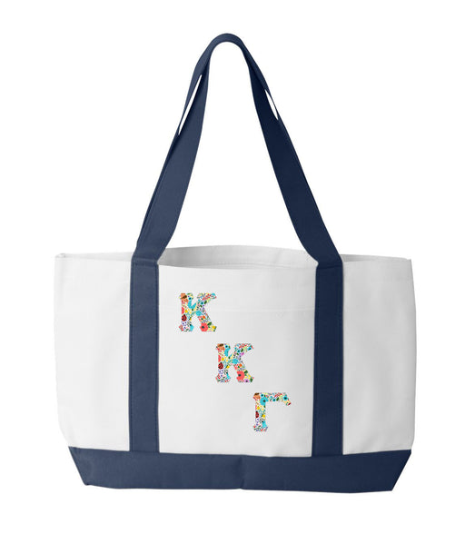 Kappa Kappa Gamma 2-Tone Boat Tote with Sewn-On Letters