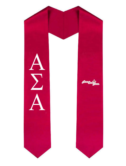 Alpha Sigma Alpha Lettered Graduation Sash Stole with Crest