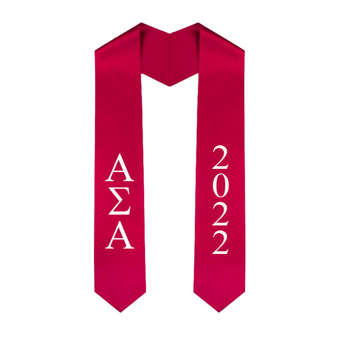Alpha Sigma Alpha Vertical Grad Stole with Letters & Year