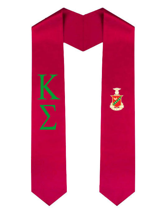 Kappa Sigma Lettered Graduation Sash Stole with Crest
