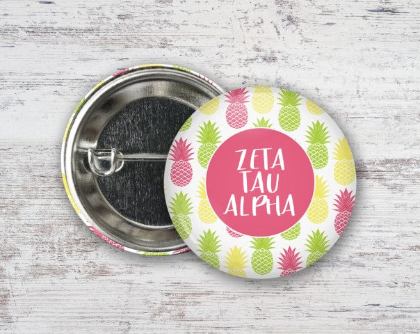 Zeta Tau Alpha Pineapples Button